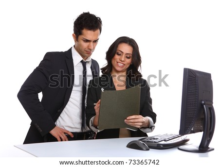 Business team looking over a file, isolated on white - stock photo