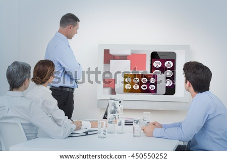 Business team looking screen against app account for smartphone - stock photo