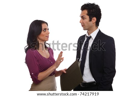 Business team male and female white collar workers - stock photo