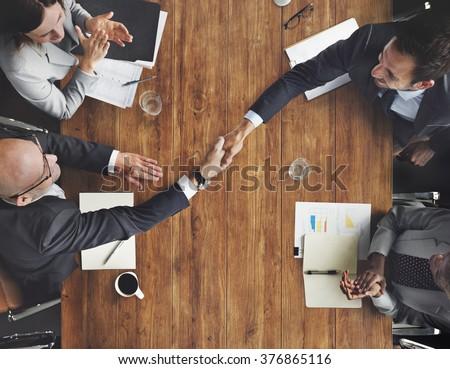 Business Team Meeting Handshake Applaud Concept - stock photo