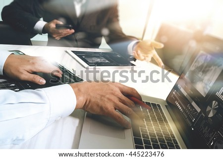 Business team meeting present. Photo professional investor working with new startup project. Finance managers meeting.Digital tablet laptop computer design smart phone using, Sun flare effect    - stock photo