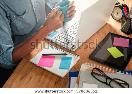 Business team meeting present. Photo professional investor working with new startup project.Digital tablet laptop computer design smart phone using, Sun flare effect
