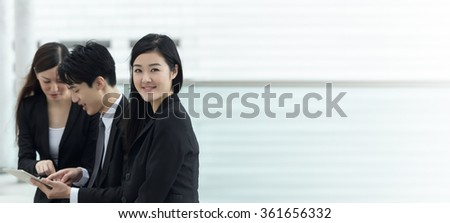 Business team of Asian in the city of Hong Kong, closeup portrait with shallow depth of focus. - stock photo