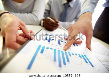 Business team presenting annual results of the established strategy