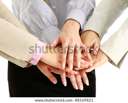 business team putting their hands