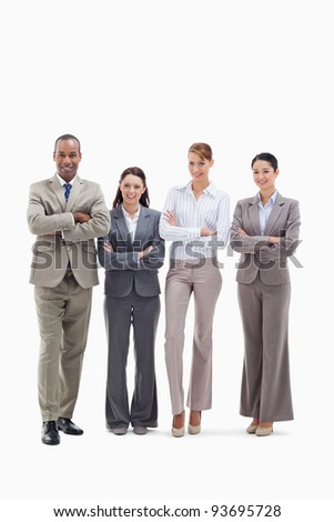 Business team smiling side by side and crossing their arms against white background - stock photo