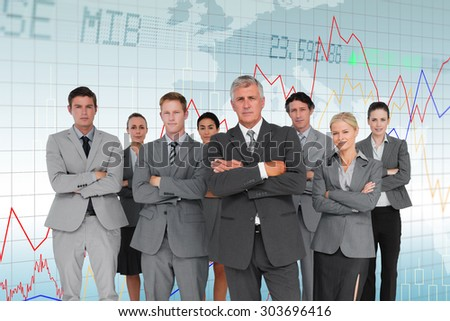 Business team standing arms crossed against stocks and shares - stock photo