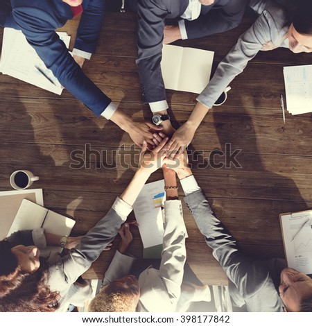 Business Team Support Join Hands Support Concept - stock photo