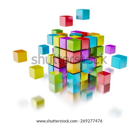 Business team teamwork collaboration concept - colorful color cubes assembling into  cubic structure isolated on white with reflection - stock photo