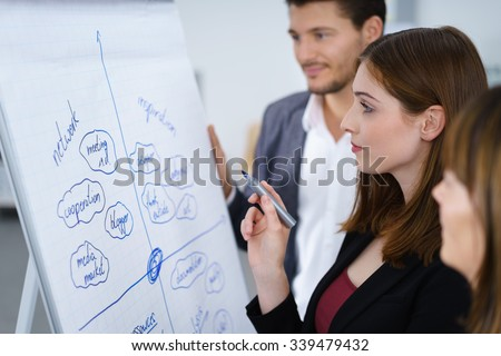 business-team thinking about new ideas writing on a whiteboard