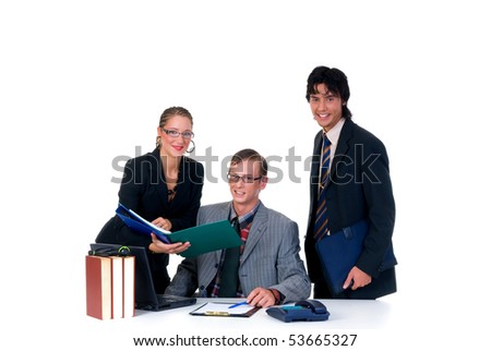 Business team, two young businessmen and female assistant, secretary in the office.  Studio, white background.