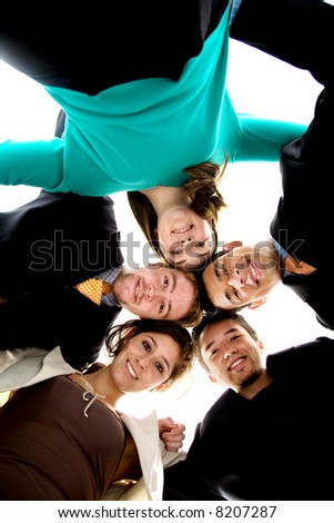 business team united together isolated over a white background