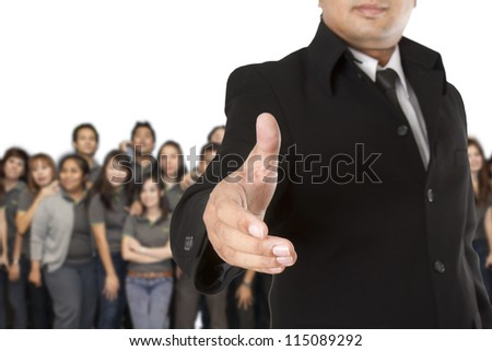 Business team welcome on white background - stock photo