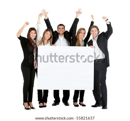 Business team with a banner isolated over a white background - stock photo