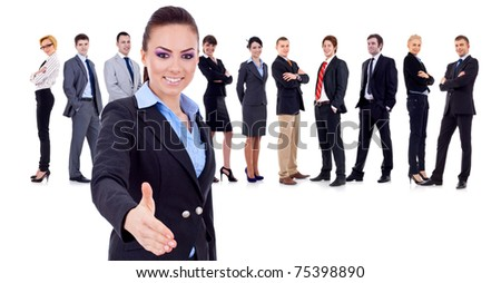business team with a business woman handshaking - isolated over a white background - stock photo