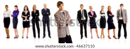 Business team with a businessman leader over white