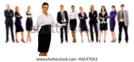 business team with a businesswoman leading it - isolated over a white background