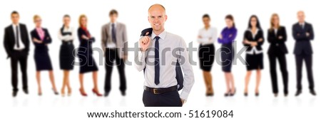 Business team with a leader on a white background