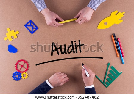 Business Team with a single word Audit - stock photo