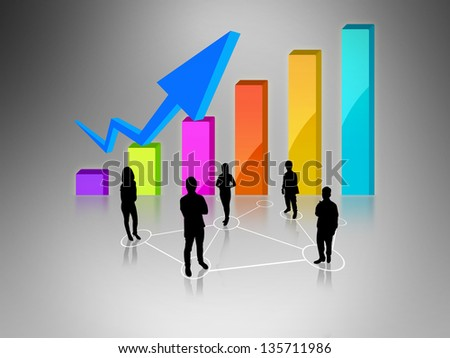 Business team with business graph - stock photo