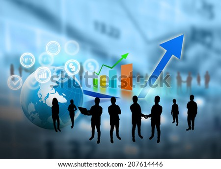 Business team with successful graph. - stock photo