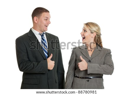 Business team with thumbs up isolated on a white background - stock photo