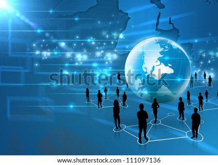 business team with world - stock photo