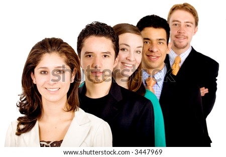 business team work - all young and successful businessmen and businesswomen isolated over white