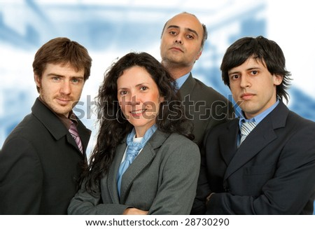 business team work, focus on the woman - stock photo