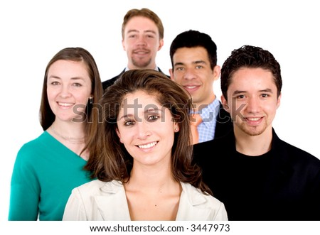 business team work - portrait of a group of young businessmen and businesswomen over a white background - stock photo