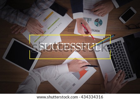 BUSINESS TEAM WORKING OFFICE  Successful TEAMWORK BRAINSTORMING CONCEPT - stock photo