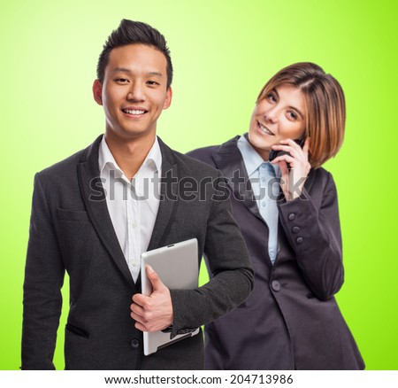 business team working together over a color background - stock photo