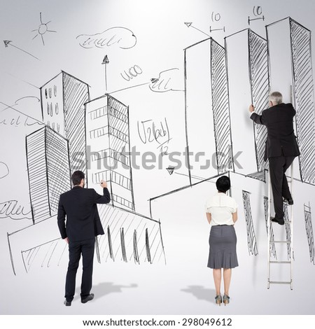 Business team writing against grey background - stock photo