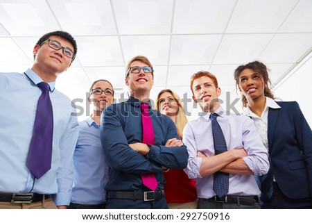 Business team young people standing multi ethnic teamwork office - stock photo