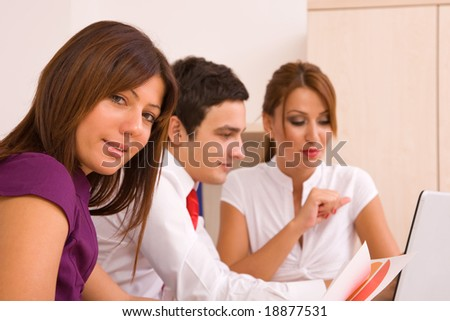 business teamwork concept with business people working on computer, shallow dof - stock photo