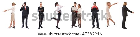 business teamwork concept with different poses of people - stock photo