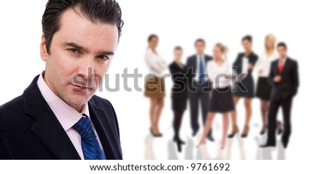 business teamwork concept with lots of business people on white - stock photo