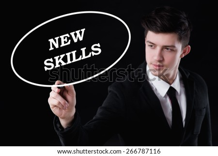 business, technology and internet concept - businessman is writing new skills text