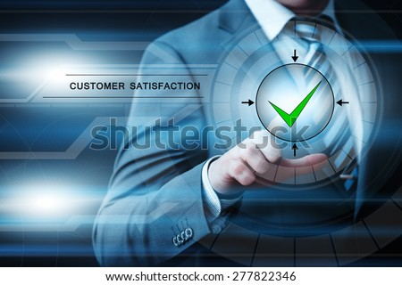 business, technology and internet concept - businessman pressing customer satisfaction button on virtual screens - stock photo
