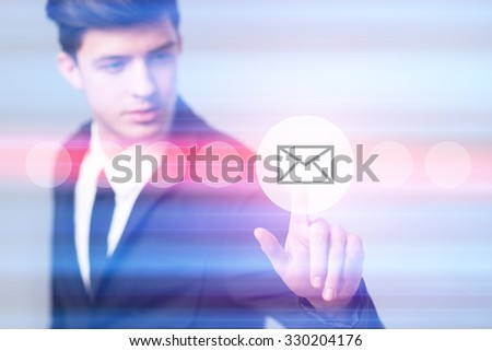 business, technology and internet concept - businessman pressing e-mail button on virtual screens - stock photo