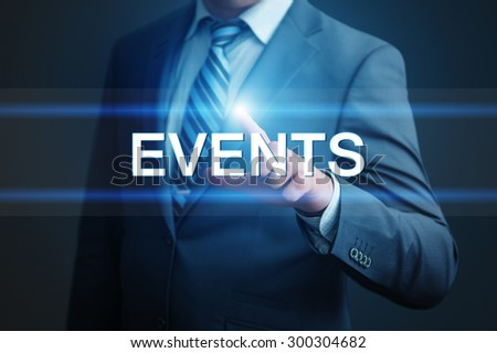 business, technology and internet concept - businessman pressing events button on virtual screens