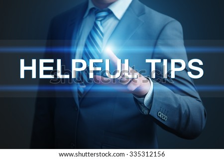 business, technology and internet concept - businessman pressing helpful tips button on virtual screens