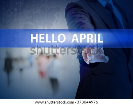 business, technology and internet concept - businessman pressing helpful tips button on virtual screens - stock photo