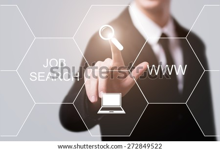business, technology and internet concept - businessman pressing job search button on virtual screens - stock photo