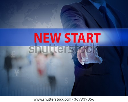 business, technology and internet concept - businessman pressing new start button on virtual screens - stock photo