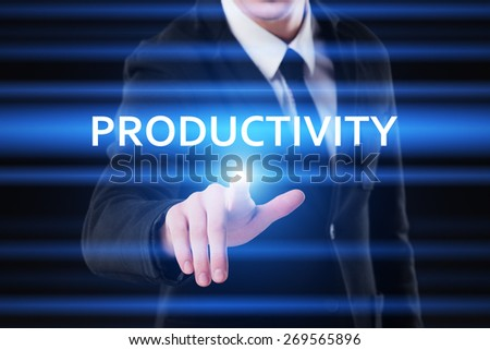 business, technology and internet concept - businessman pressing productivity button on virtual screens - stock photo