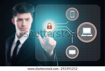 business, technology and internet concept - businessman pressing security button on virtual screens - stock photo