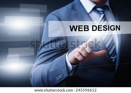 business, technology and internet concept - businessman pressing web design button on virtual screens - stock photo