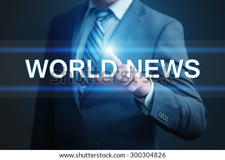 business, technology and internet concept - businessman pressing world news button on virtual screens - stock photo