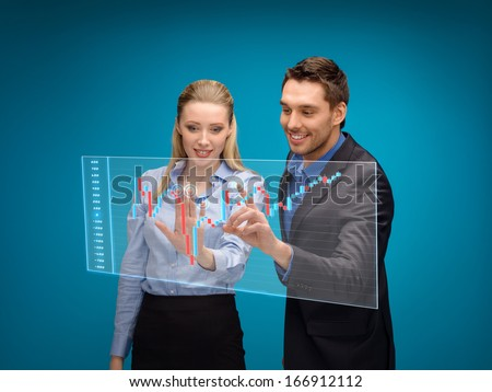 business, technology and money concept - businesswoman and businessman working with forex chart on virtual screen - stock photo